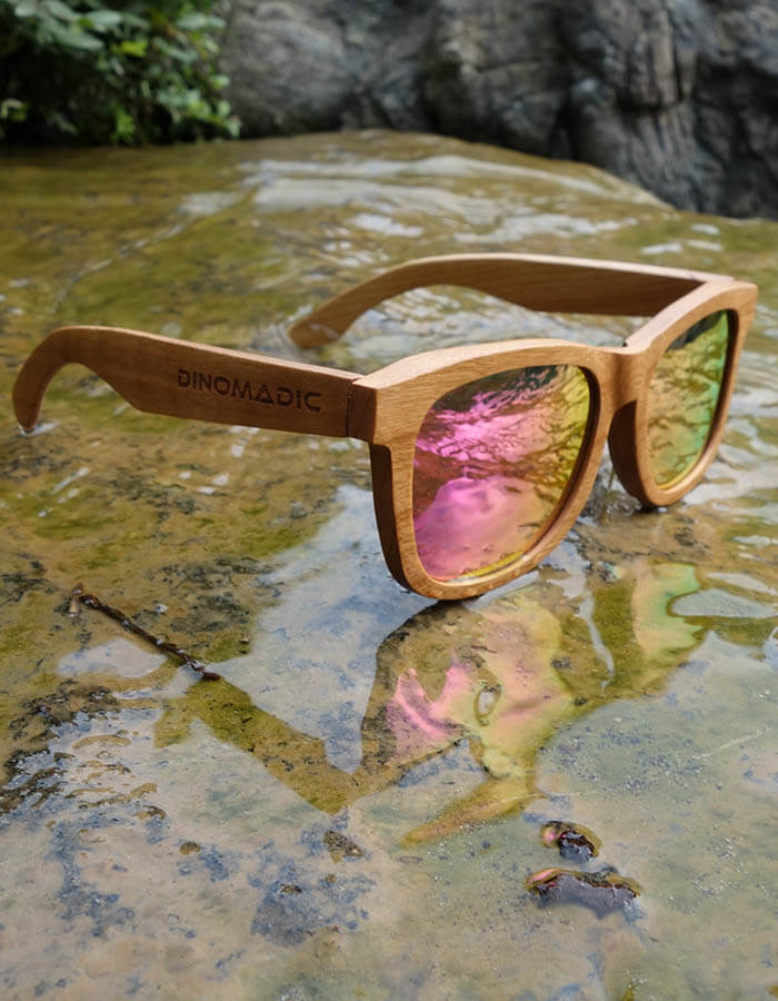 974193dc8a DINOMADic Cladel R Unisex Wayfarer Cherry Wooden Sunglasses with Polarized  Lenses in Bamboo Case